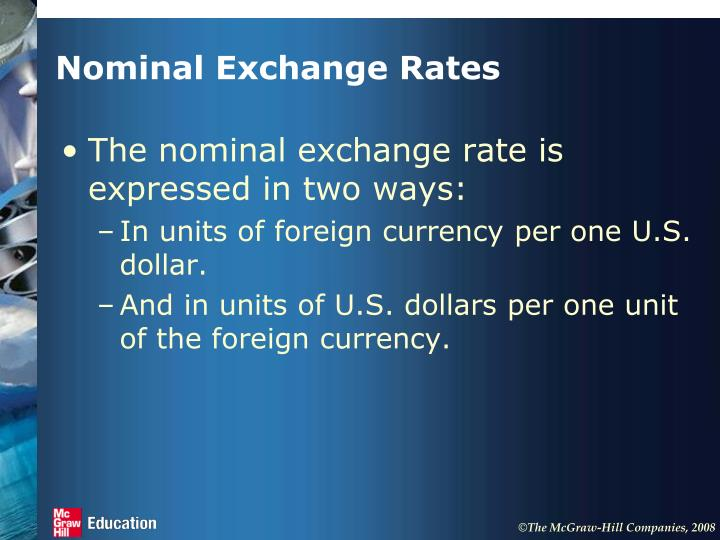 Nominal exchange rates1