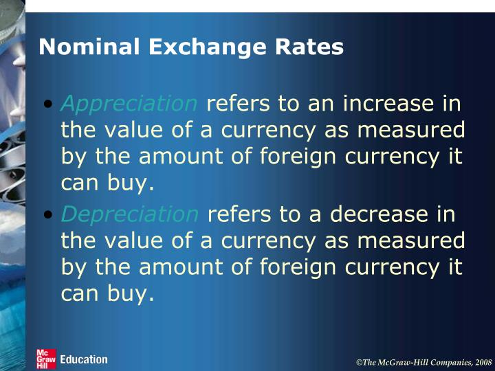 Nominal Exchange Rates