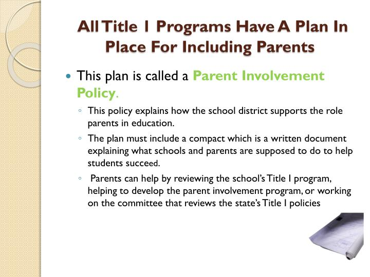 All Title 1 Programs Have A Plan In Place For Including Parents