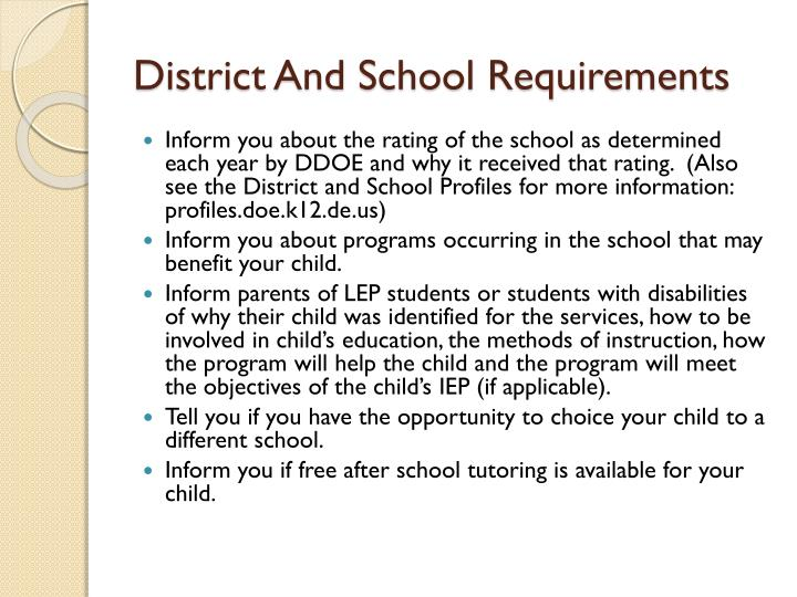 District And School Requirements