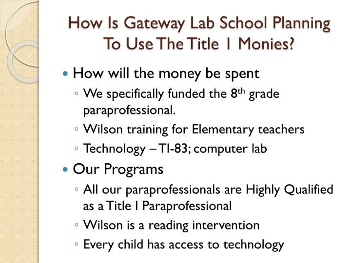 How Is Gateway Lab School Planning To Use The Title 1 Monies?