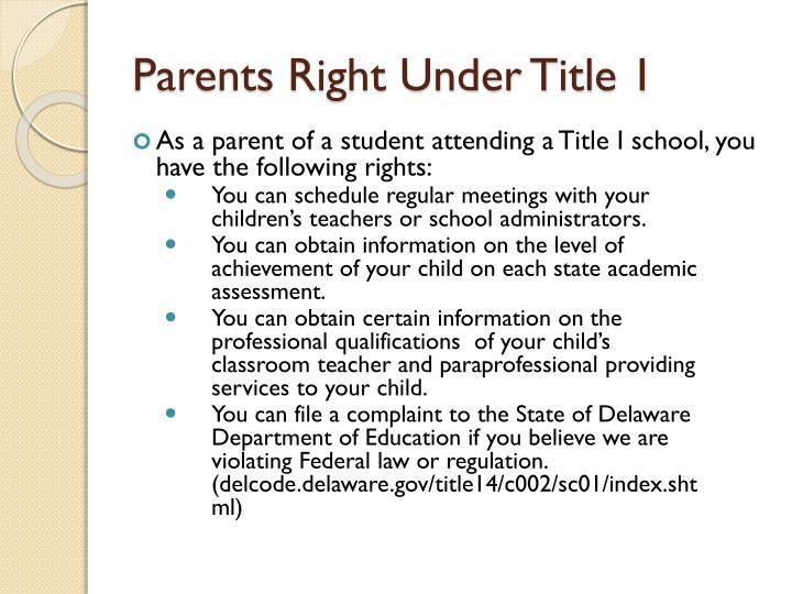 Parents Right Under Title 1