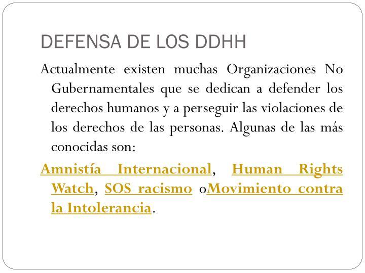 DEFENSA DE LOS DDHH