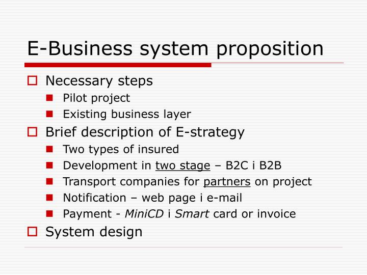 E-Business system proposition
