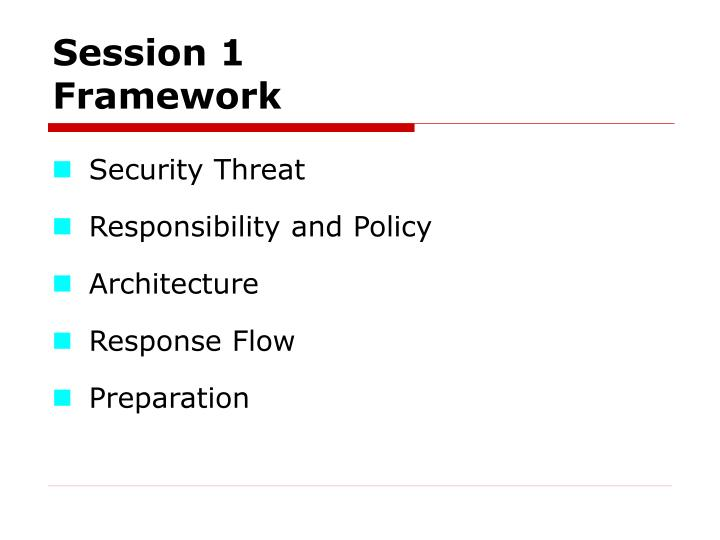 session 1 framework n.