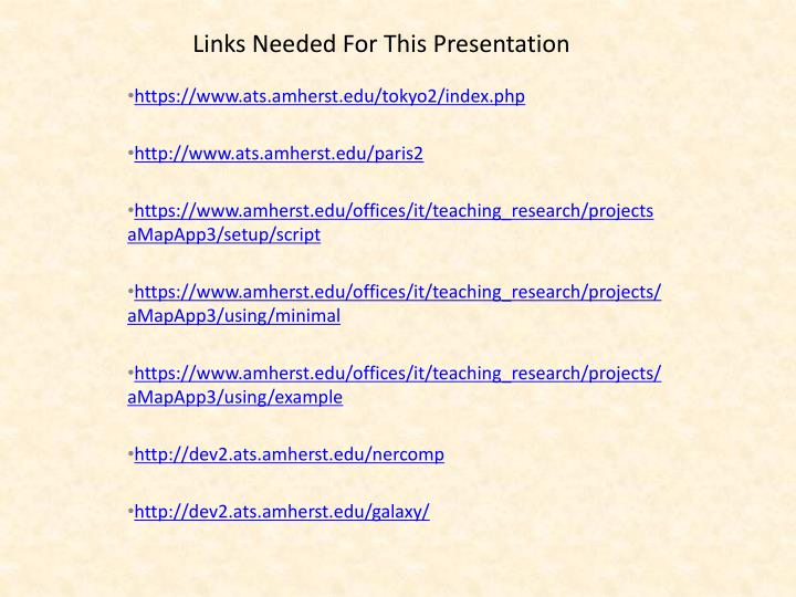 links needed for this presentation n.