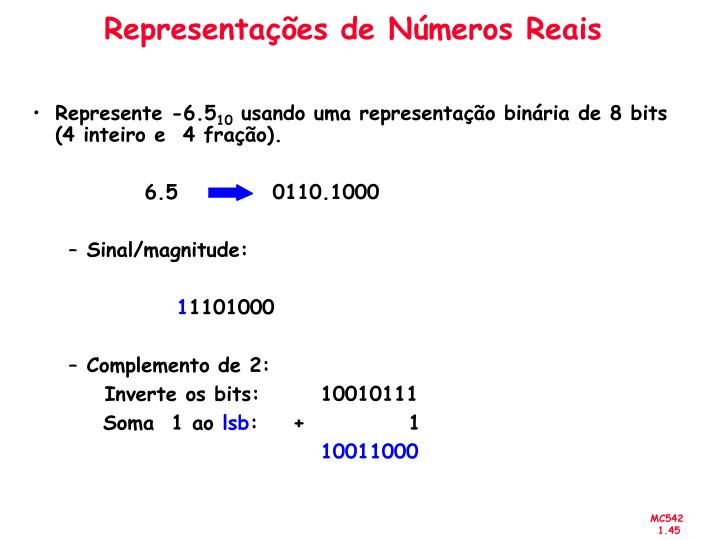 Representações de Números Reais