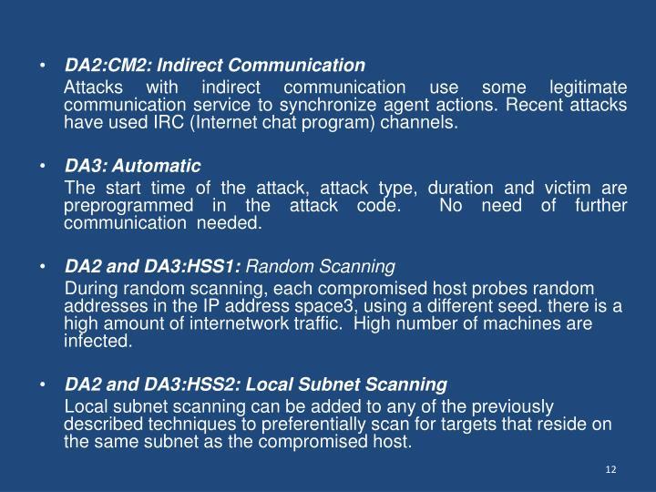 DA2:CM2: Indirect Communication