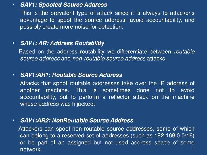 SAV1: Spoofed Source Address