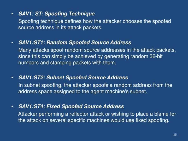 SAV1: ST: Spoofing Technique