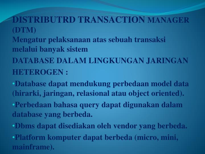 DISTRIBUTRD TRANSACTION