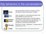 key behaviors in the conversations1