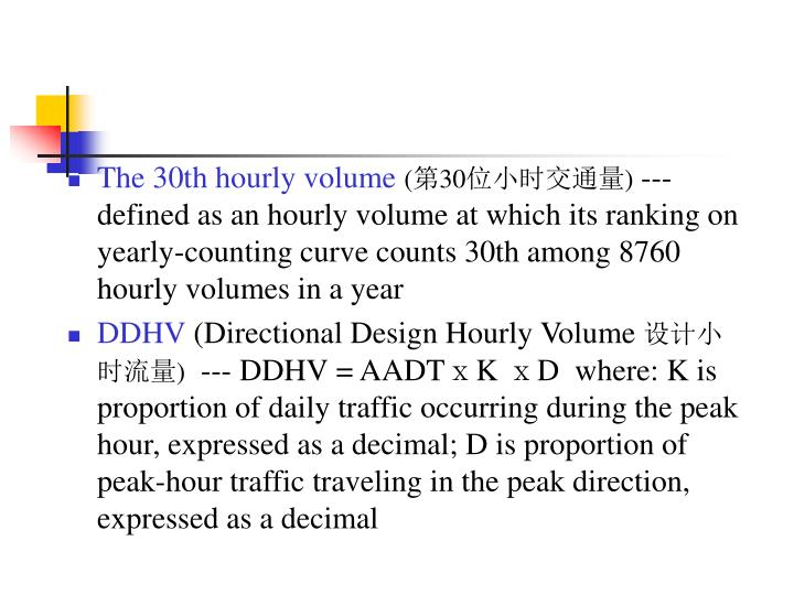 The 30th hourly volume