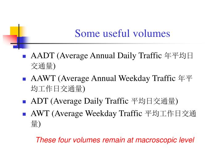 Some useful volumes