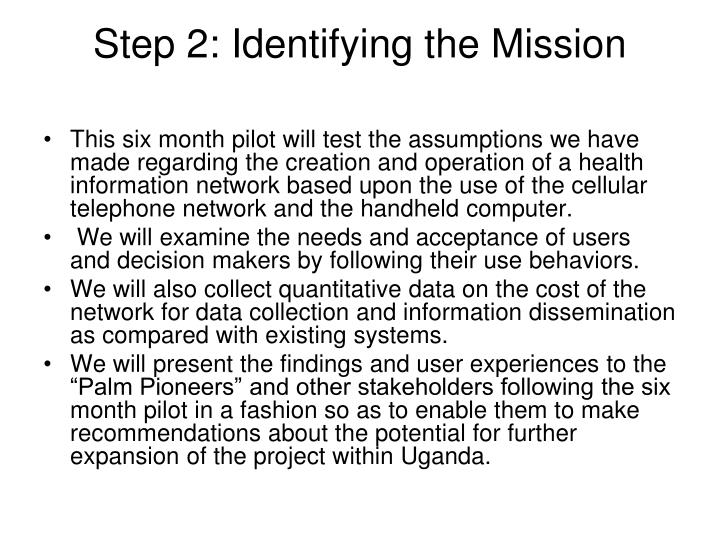 Step 2: Identifying the Mission