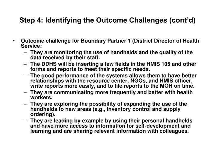Step 4: Identifying the Outcome Challenges (cont'd)