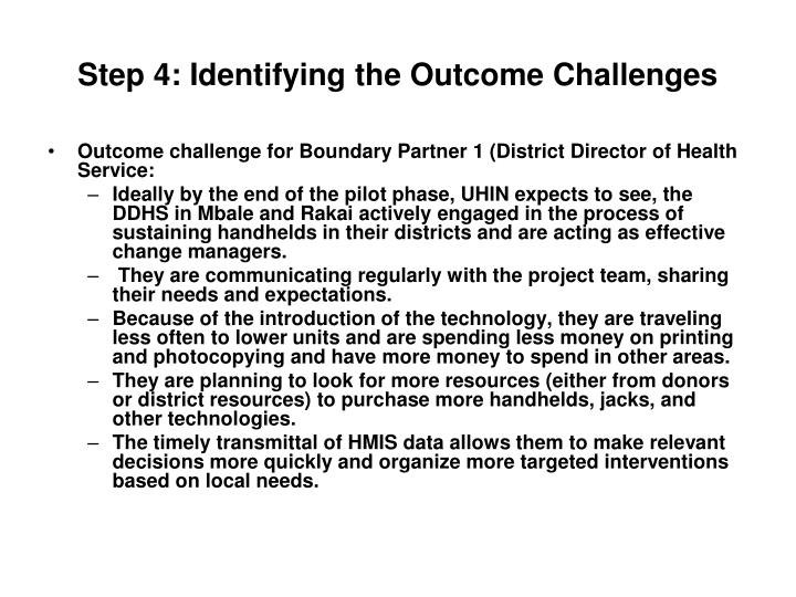 Step 4: Identifying the Outcome Challenges