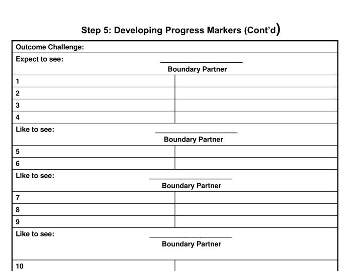 Step 5: Developing Progress Markers (Cont'd