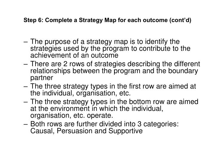 Step 6: Complete a Strategy Map for each outcome (cont'd)