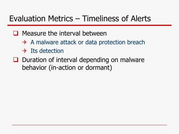 Evaluation Metrics – Timeliness of Alerts