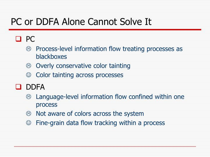 PC or DDFA Alone Cannot Solve It