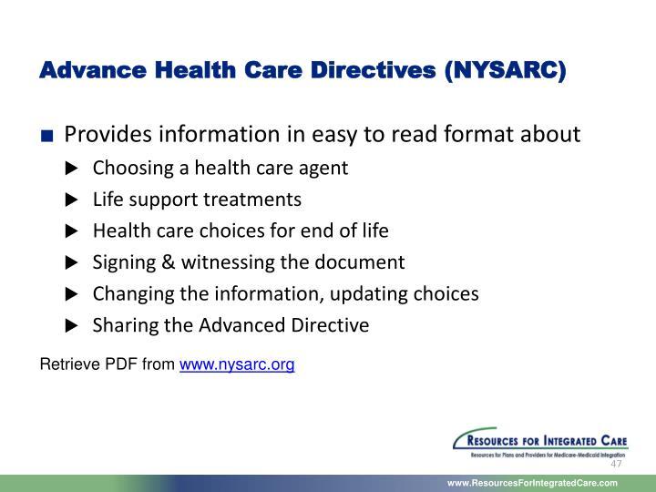 Advance Health Care Directives (NYSARC)