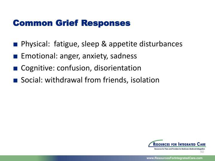 Common Grief Responses