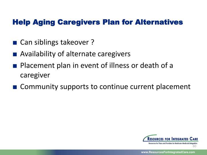 Help Aging Caregivers Plan for Alternatives