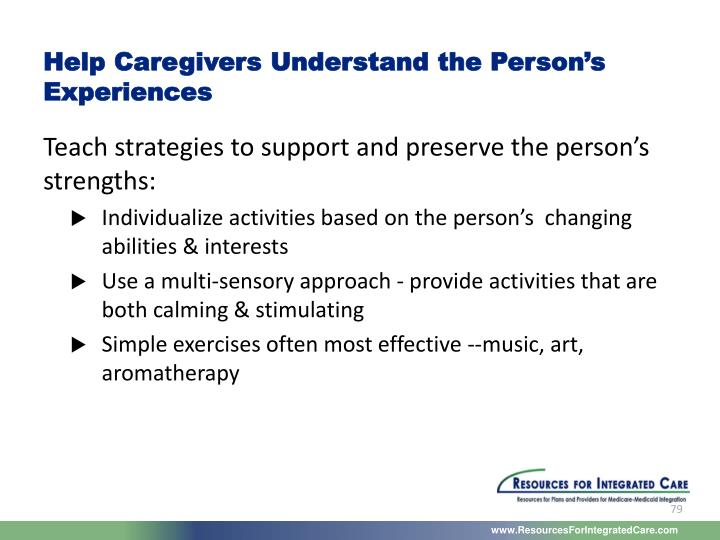 Help Caregivers Understand the Person's Experiences