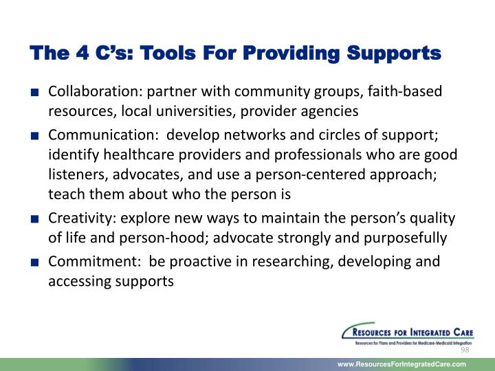 The 4 C's: Tools For Providing Supports