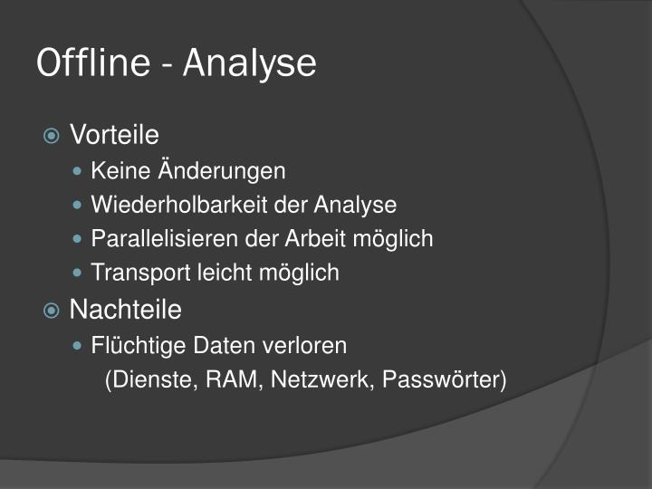 Offline - Analyse