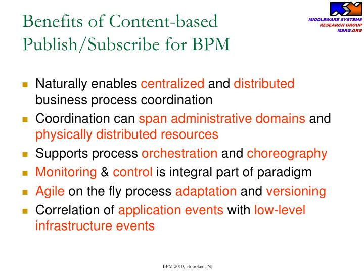 Benefits of Content-based Publish/Subscribe for BPM