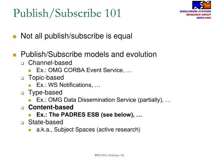 Publish/Subscribe 101