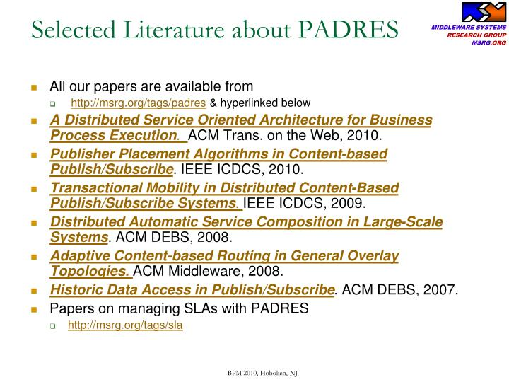 Selected Literature about PADRES