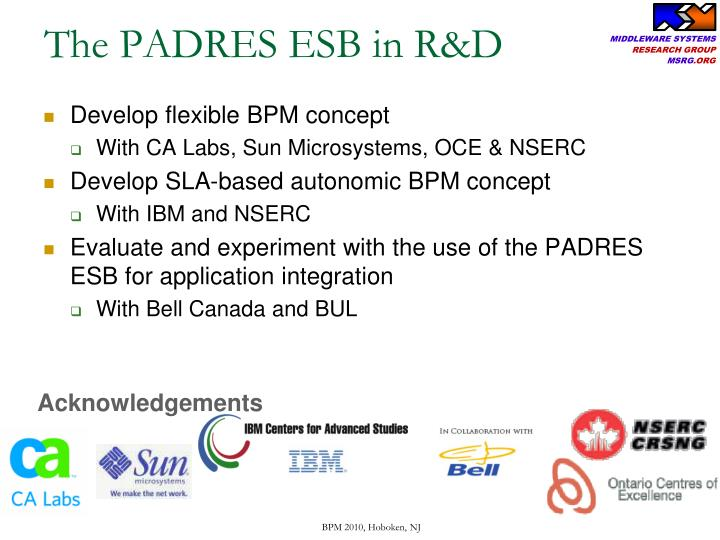 The PADRES ESB in R&D