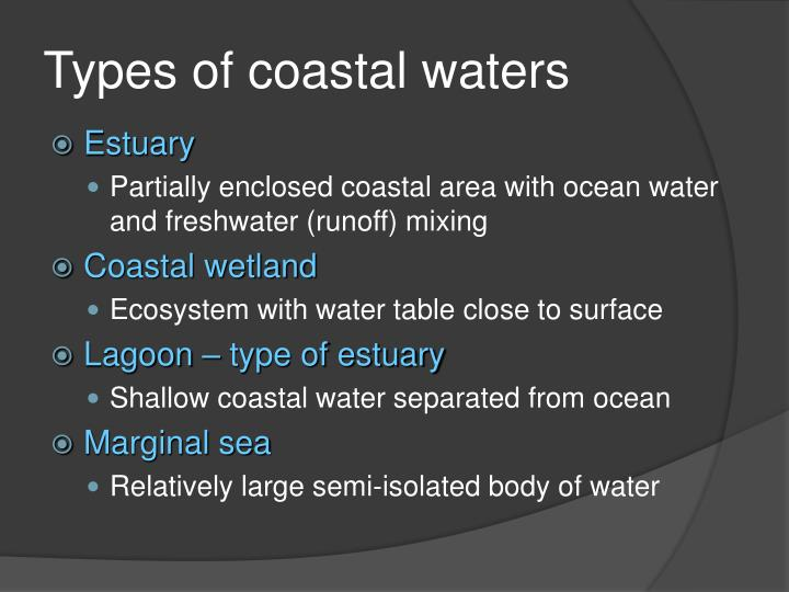 Types of coastal waters