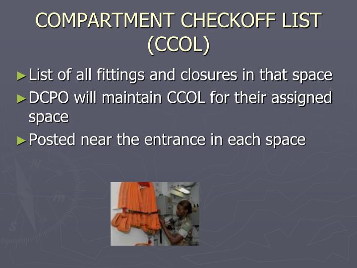 COMPARTMENT CHECKOFF LIST (CCOL)