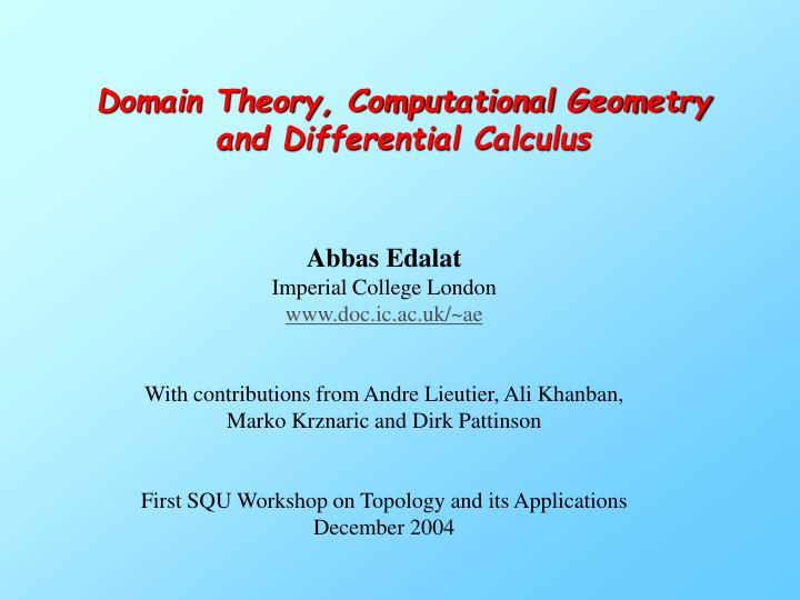 domain theory computational geometry and differential calculus n.