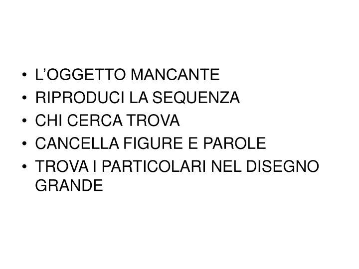 L'OGGETTO MANCANTE