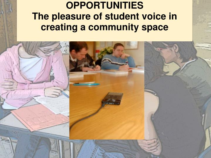 Opportunities the pleasure of student voice in creating a community space