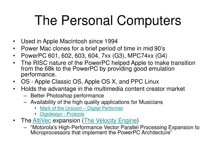 The Personal Computers