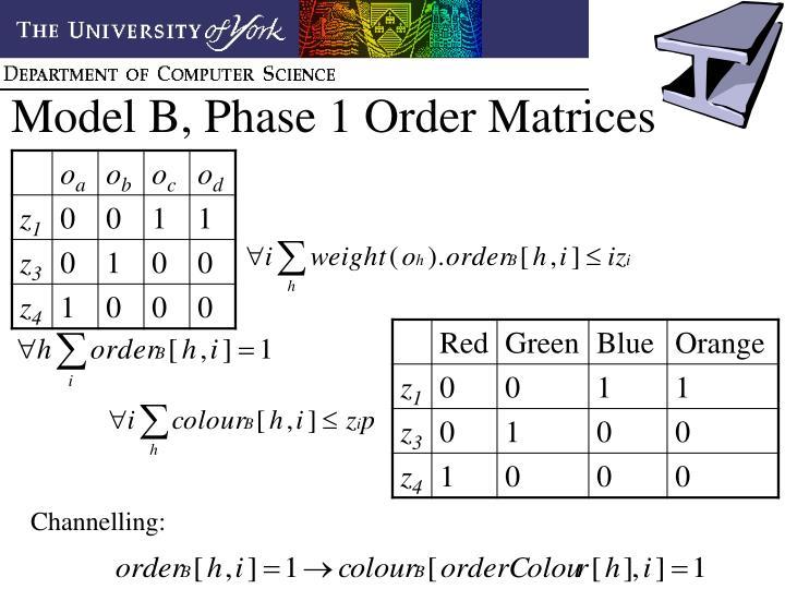 Model B, Phase 1 Order Matrices