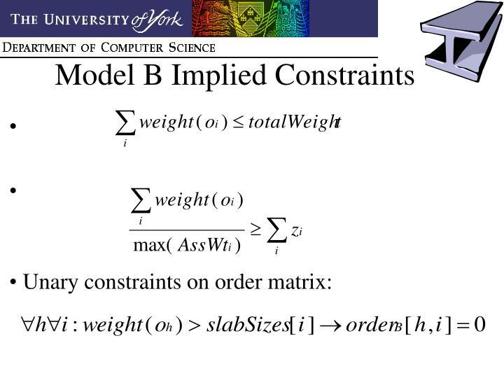 Model B Implied Constraints