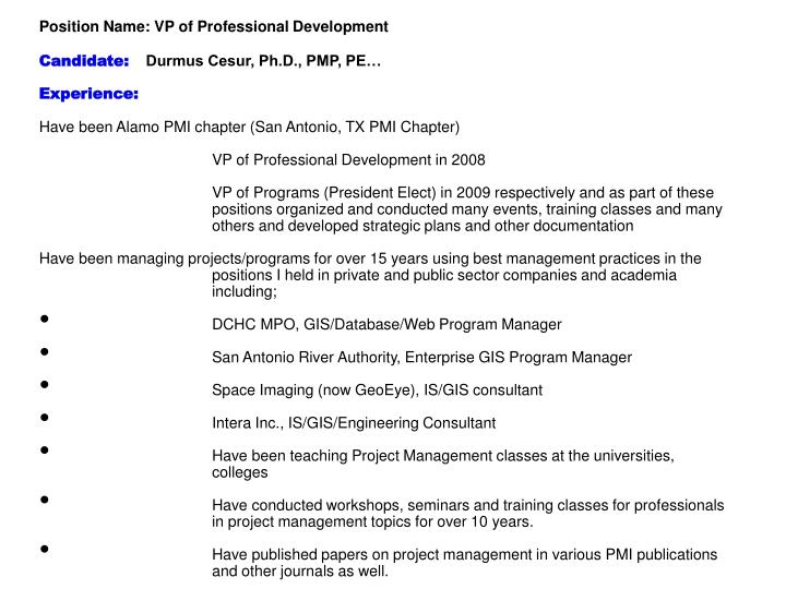 PPT - Position Name: VP of Professional Development Candidate