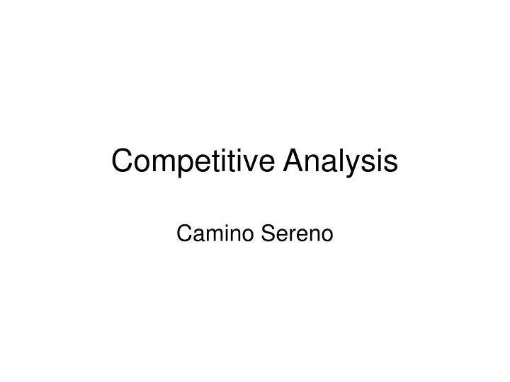 competitive analysis n.