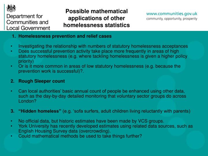 Possible mathematical applications of other homelessness statistics