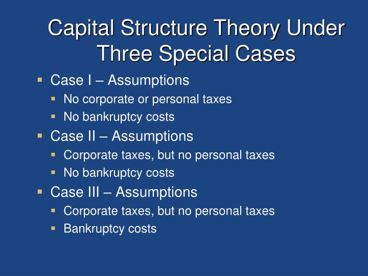 Capital Structure Theory Under Three Special Cases