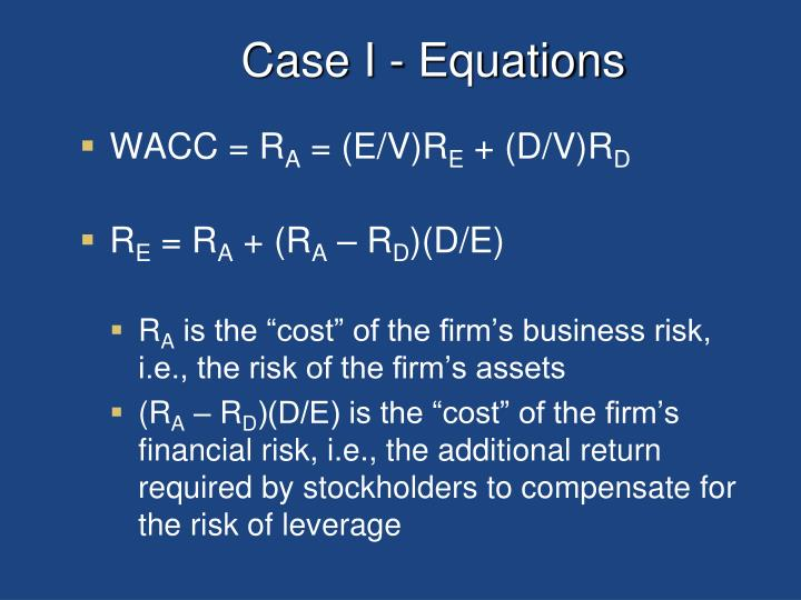 Case I - Equations