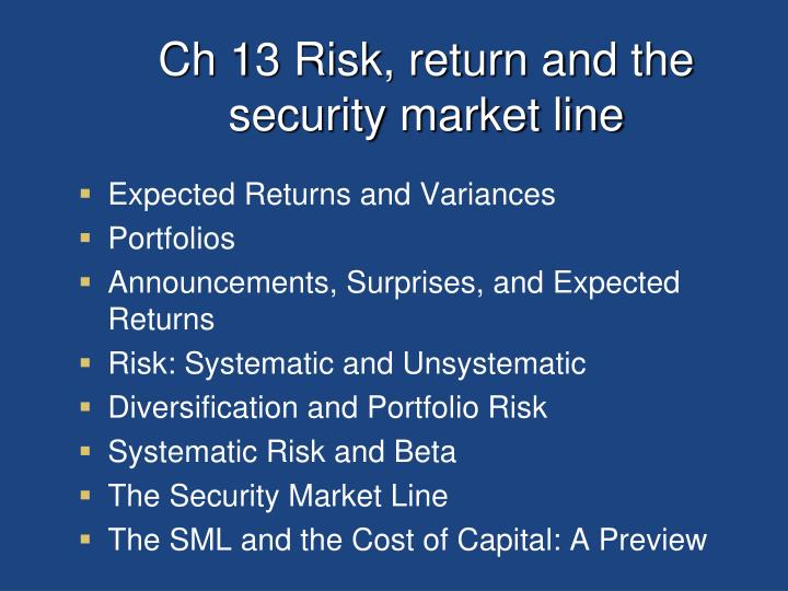 Ch 13 Risk, return and the security market line