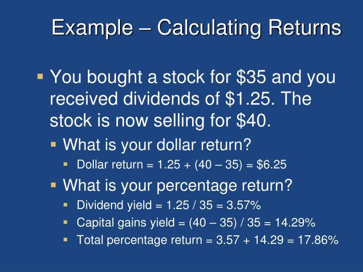 Example calculating returns